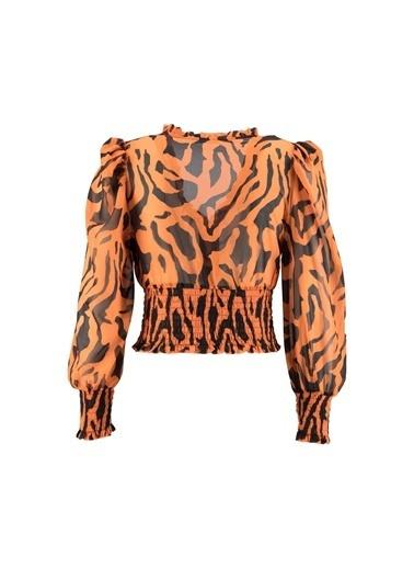Setre Oranj V Yaka Zebra Bluz Oranj